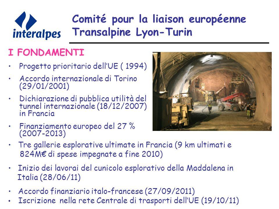 Comité pour la liaison européenne Transalpine Lyon-Turin I FONDAMENTI Progetto prioritario dellUE ( 1994) Accordo internazionale di Torino (29/01/2001) Dichiarazione di pubblica utilità del tunnel internazionale (18/12/2007) in Francia Finanziamento europeo del 27 % (2007-2013) Tre gallerie esplorative ultimate in Francia (9 km ultimati e 824M di spese impegnate a fine 2010) Inizio dei lavorai del cunicolo esplorativo della Maddalena in Italia (28/06/11) Accordo finanziario italo-francese (27/09/2011) Iscrizione nella rete Centrale di trasporti dellUE (19/10/11)