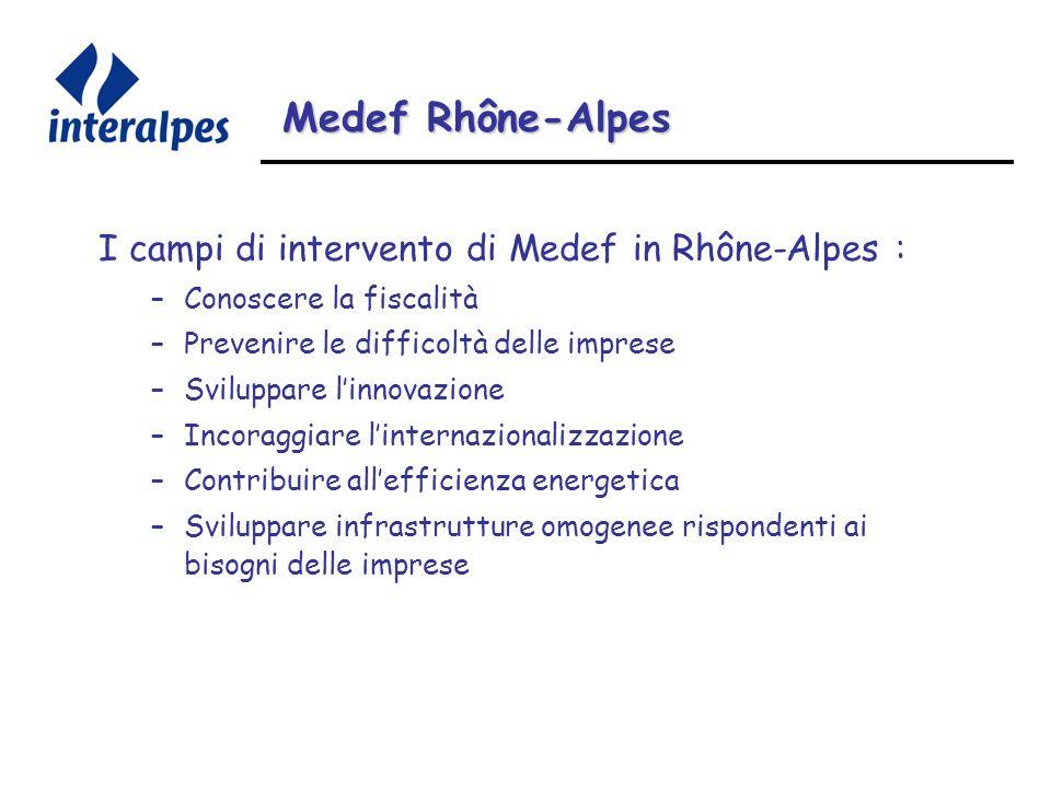 Medef Rhône-Alpes I campi di intervento di Medef in Rhône-Alpes : –Conoscere la fiscalità –Prevenire le difficoltà delle imprese –Sviluppare linnovazione –Incoraggiare linternazionalizzazione –Contribuire allefficienza energetica –Sviluppare infrastrutture omogenee rispondenti ai bisogni delle imprese