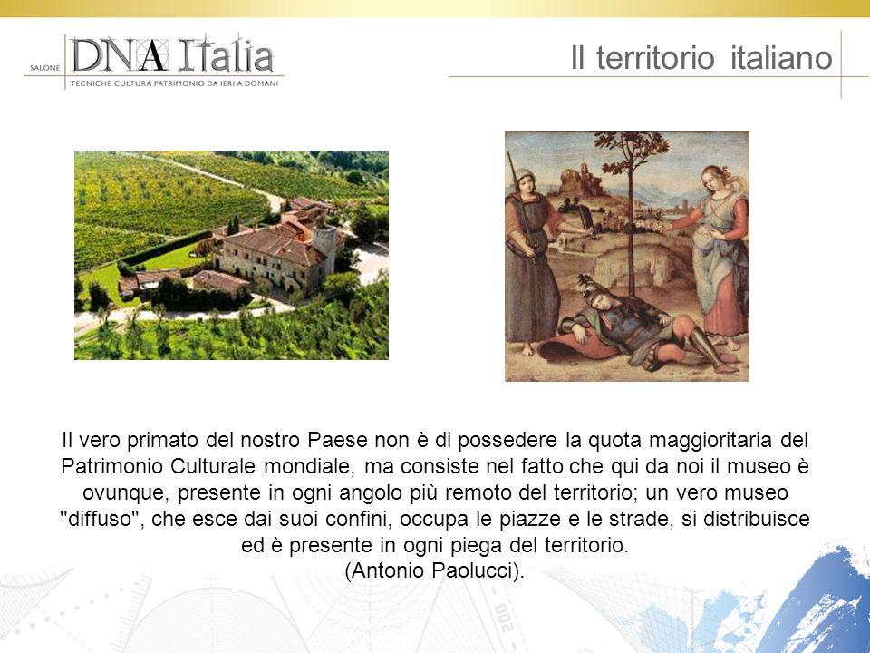 Il territorio italiano Il vero primato del nostro Paese non è di possedere la quota maggioritaria del Patrimonio Culturale mondiale, ma consiste nel f