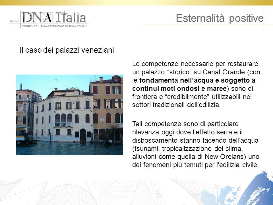 Esternalità positive Le competenze necessarie per restaurare un palazzo storico su Canal Grande (con le fondamenta nellacqua e soggetto a continui mot
