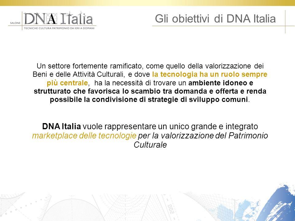 Gli obiettivi di DNA Italia Un settore fortemente ramificato, come quello della valorizzazione dei Beni e delle Attività Culturali, e dove la tecnolog