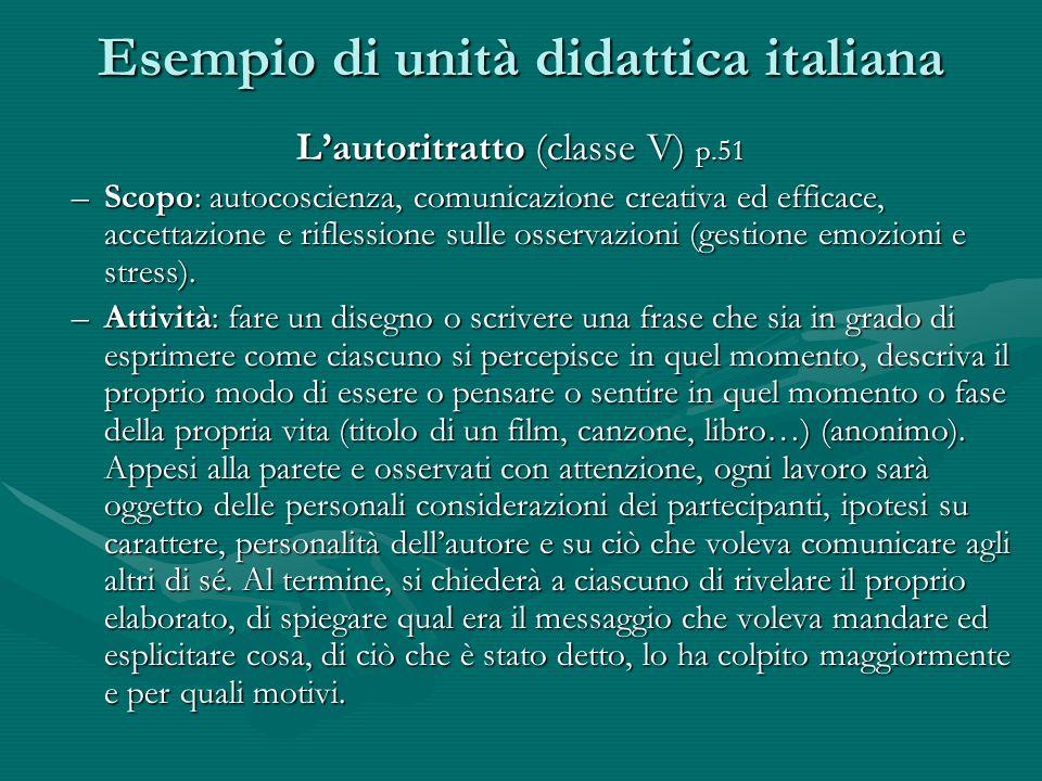 Esempio di unità didattica italiana Lautoritratto (classe V) p.51 –Scopo: autocoscienza, comunicazione creativa ed efficace, accettazione e riflession