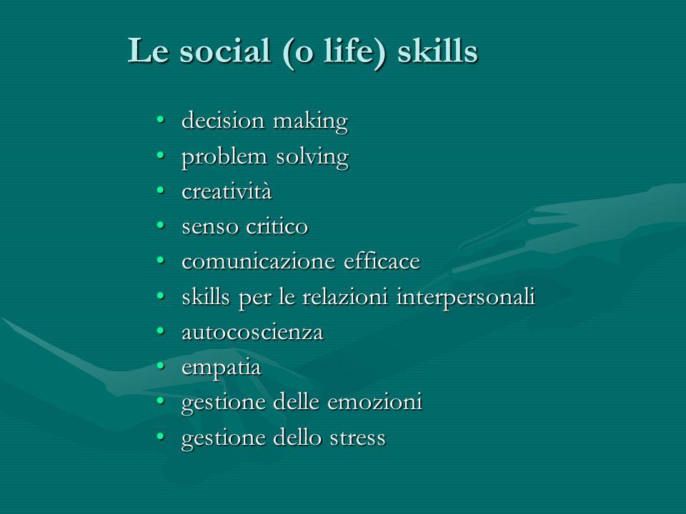 Le social (o life) skills decision makingdecision making problem solvingproblem solving creativitàcreatività senso criticosenso critico comunicazione