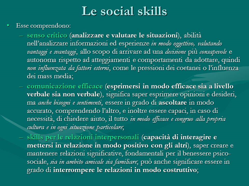 Le social skills Esse comprendono:Esse comprendono: –autocoscienza, conoscere se stessi, il proprio carattere, i propri punti forti e quelli deboli, i propri desideri e bisogni; incentivare lautocoscienza può aiutare a comprendere quando si è in tensione o sotto stress e rappresenta un prerequisito fondamentale per una comunicazione efficace, per relazioni interpersonali positive e per la comprensione empatica degli altri; –empatia (capacità di comprendere e ascoltare laltro), capacità di mettersi nei panni degli altri anche in situazioni che non ci sono familiari; lempatia permette di migliorare le relazioni sociali, soprattutto nei confronti di differenze etniche e culturali, facilita laccettazione e la comprensione verso persone che possono aver bisogno di aiuto; –gestione delle emozioni, significa riconoscere le emozioni in sé e negli altri, essere consapevoli di come le emozioni influenzano il comportamento e riuscire a gestirle e regolarle in modo appropriato; –gestione dello stress, consiste nel riconoscere le cause di tensione e di stress della vita quotidiana e nel controllarle sia tramite cambiamenti nellambiente o nello stile di vita, sia tramite la capacità di rilassarsi, in modo che gli stress inevitabili non diano luogo ad ulteriori problemi.