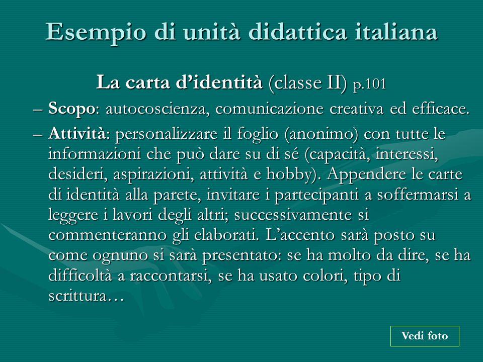 Esempio di unità didattica italiana La carta didentità (classe II) p.101 –Scopo: autocoscienza, comunicazione creativa ed efficace. –Attività: persona