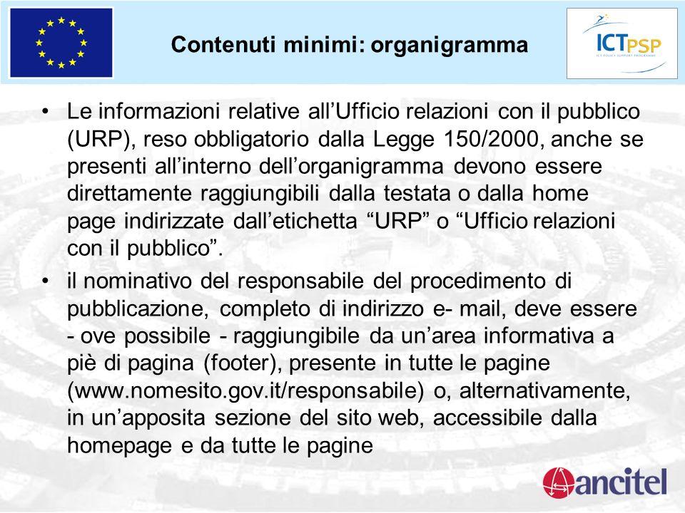 Contenuti minimi: organigramma Le informazioni relative allUfficio relazioni con il pubblico (URP), reso obbligatorio dalla Legge 150/2000, anche se p