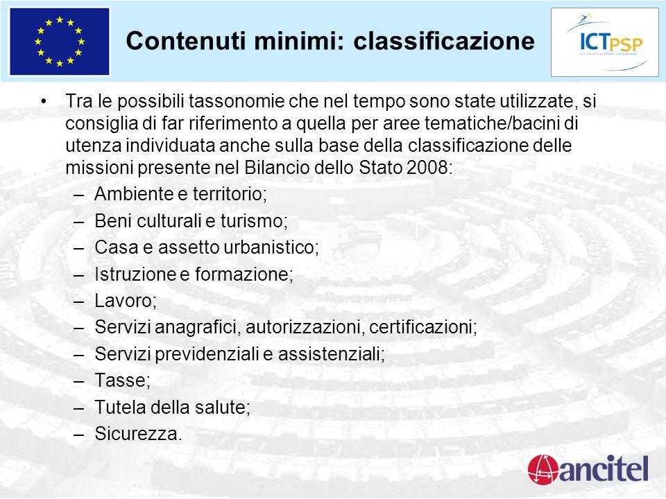 Contenuti minimi: classificazione Tra le possibili tassonomie che nel tempo sono state utilizzate, si consiglia di far riferimento a quella per aree t