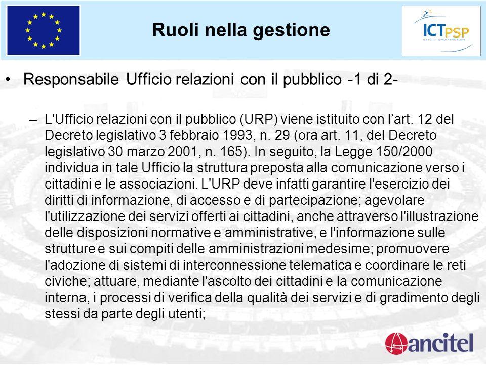 Responsabile Ufficio relazioni con il pubblico -1 di 2- –L'Ufficio relazioni con il pubblico (URP) viene istituito con lart. 12 del Decreto legislativ