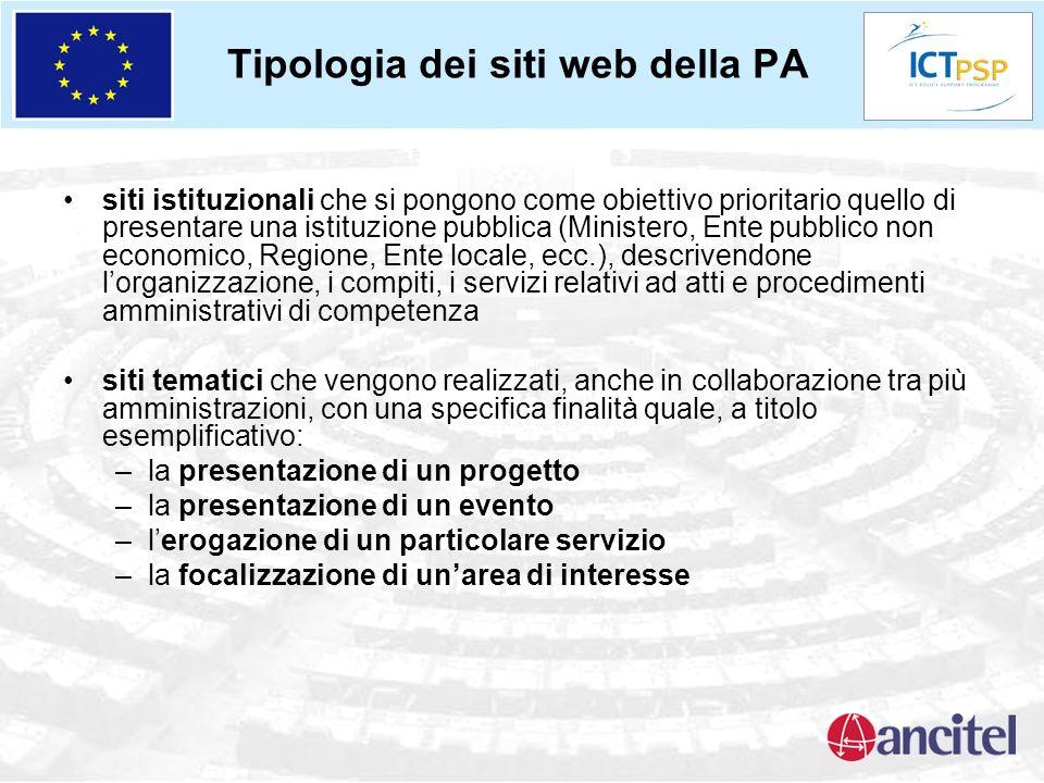 Tipologia dei siti web della PA siti istituzionali che si pongono come obiettivo prioritario quello di presentare una istituzione pubblica (Ministero,