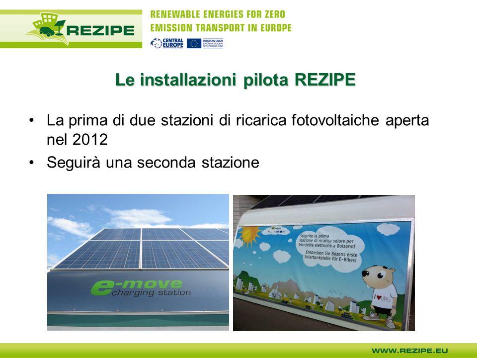 Le installazioni pilota REZIPE La prima di due stazioni di ricarica fotovoltaiche aperta nel 2012 Seguirà una seconda stazione