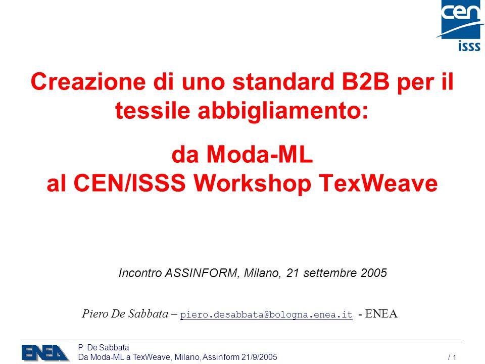 P. De Sabbata Da Moda-ML a TexWeave, Milano, Assinform 21/9/2005 / 1 Creazione di uno standard B2B per il tessile abbigliamento: da Moda-ML al CEN/ISS
