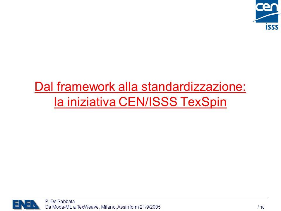P. De Sabbata Da Moda-ML a TexWeave, Milano, Assinform 21/9/2005 / 16 Dal framework alla standardizzazione: la iniziativa CEN/ISSS TexSpin