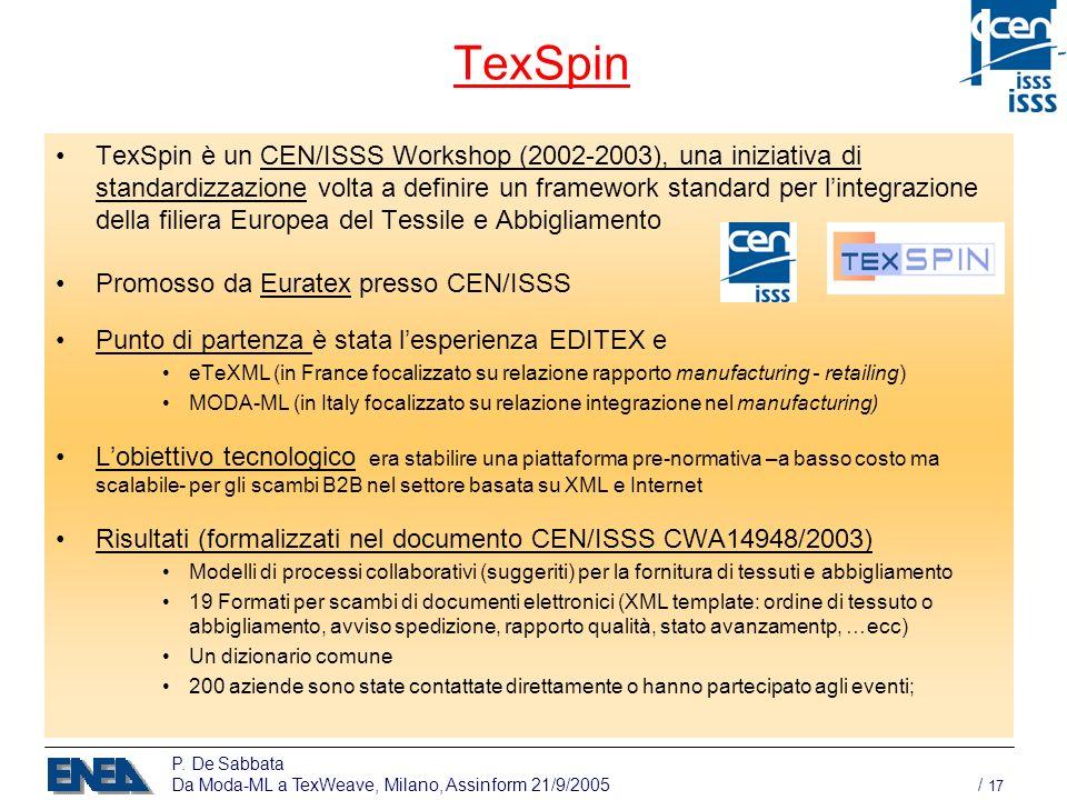 P. De Sabbata Da Moda-ML a TexWeave, Milano, Assinform 21/9/2005 / 17 TexSpin TexSpin è un CEN/ISSS Workshop (2002-2003), una iniziativa di standardiz