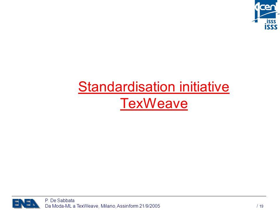 P. De Sabbata Da Moda-ML a TexWeave, Milano, Assinform 21/9/2005 / 19 Standardisation initiative TexWeave