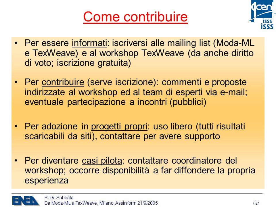 P. De Sabbata Da Moda-ML a TexWeave, Milano, Assinform 21/9/2005 / 21 Come contribuire Per essere informati: iscriversi alle mailing list (Moda-ML e T