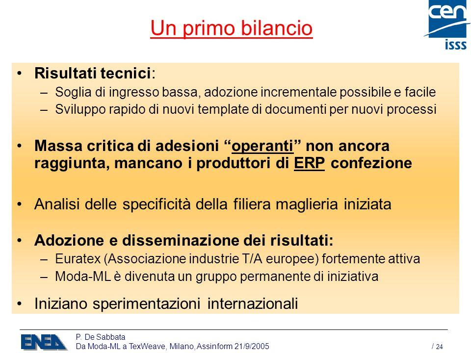 P. De Sabbata Da Moda-ML a TexWeave, Milano, Assinform 21/9/2005 / 24 Un primo bilancio Risultati tecnici: –Soglia di ingresso bassa, adozione increme