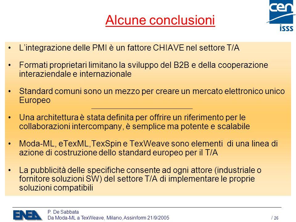 P. De Sabbata Da Moda-ML a TexWeave, Milano, Assinform 21/9/2005 / 26 Alcune conclusioni Lintegrazione delle PMI è un fattore CHIAVE nel settore T/A F