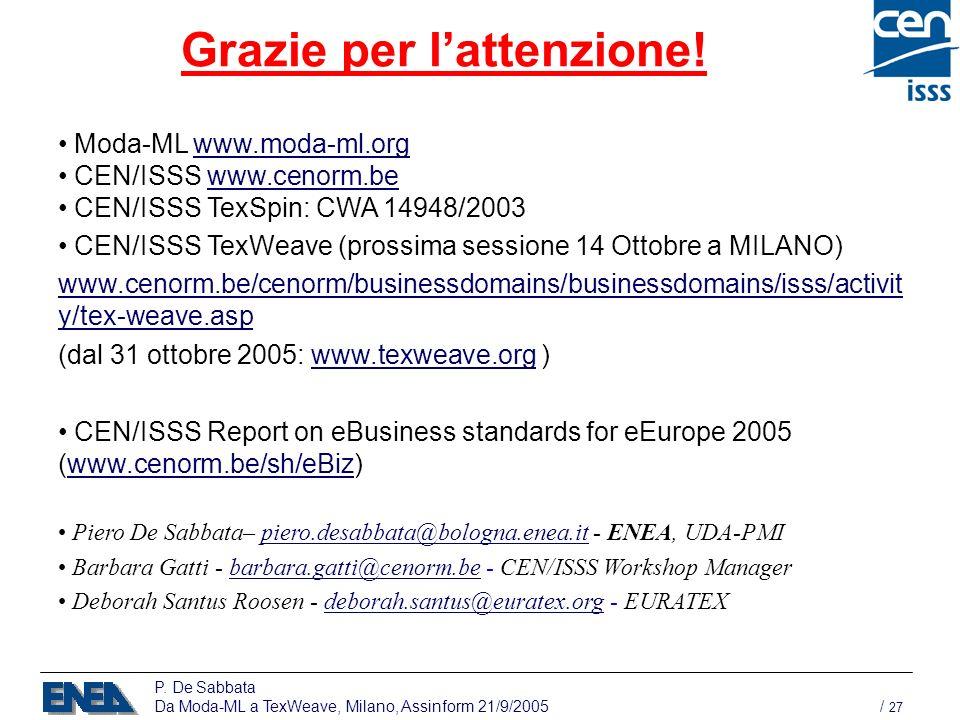 P. De Sabbata Da Moda-ML a TexWeave, Milano, Assinform 21/9/2005 / 27 Grazie per lattenzione! Moda-ML www.moda-ml.orgwww.moda-ml.org CEN/ISSS www.ceno