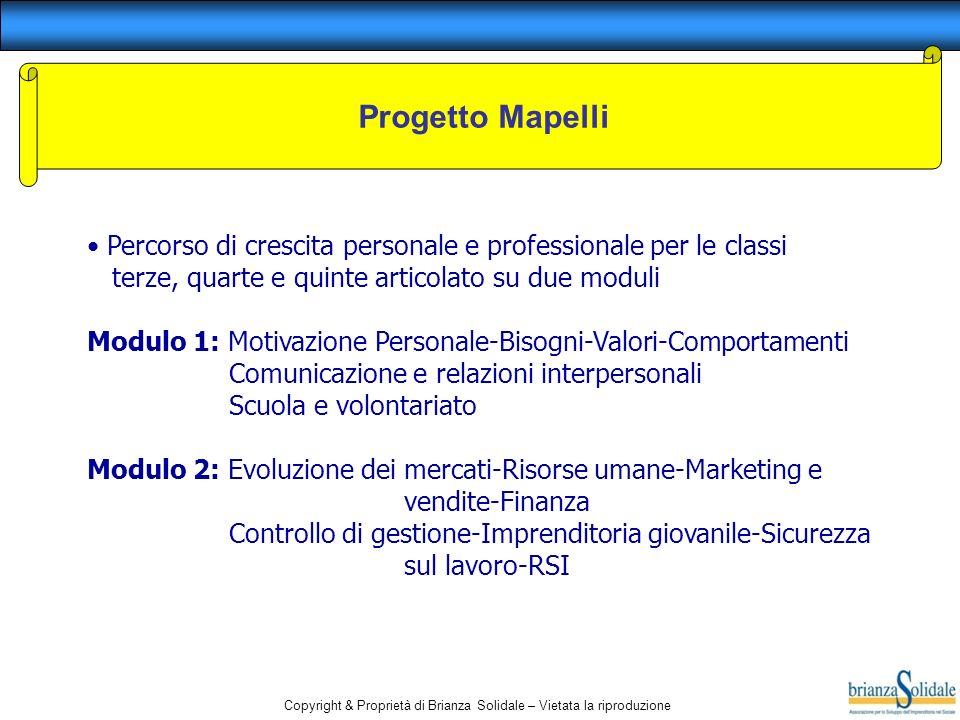 Copyright & Proprietà di Brianza Solidale – Vietata la riproduzione Progetto Mapelli Percorso di crescita personale e professionale per le classi terz
