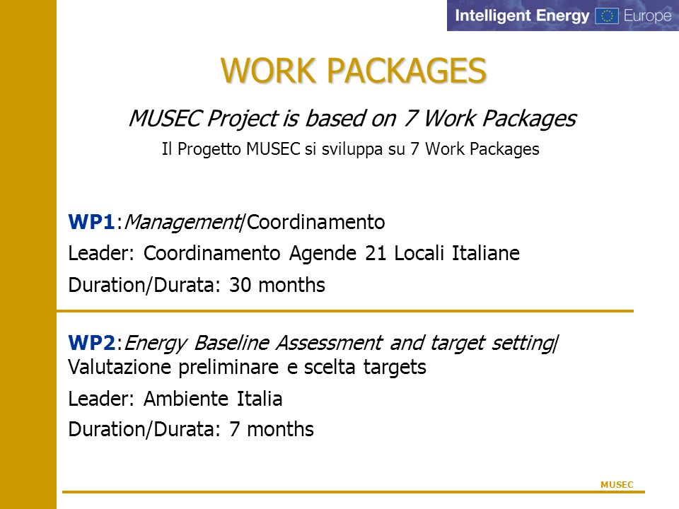 WORK PACKAGES MUSEC Project is based on 7 Work Packages Il Progetto MUSEC si sviluppa su 7 Work Packages MUSEC WP1:Management/Coordinamento Leader: Co