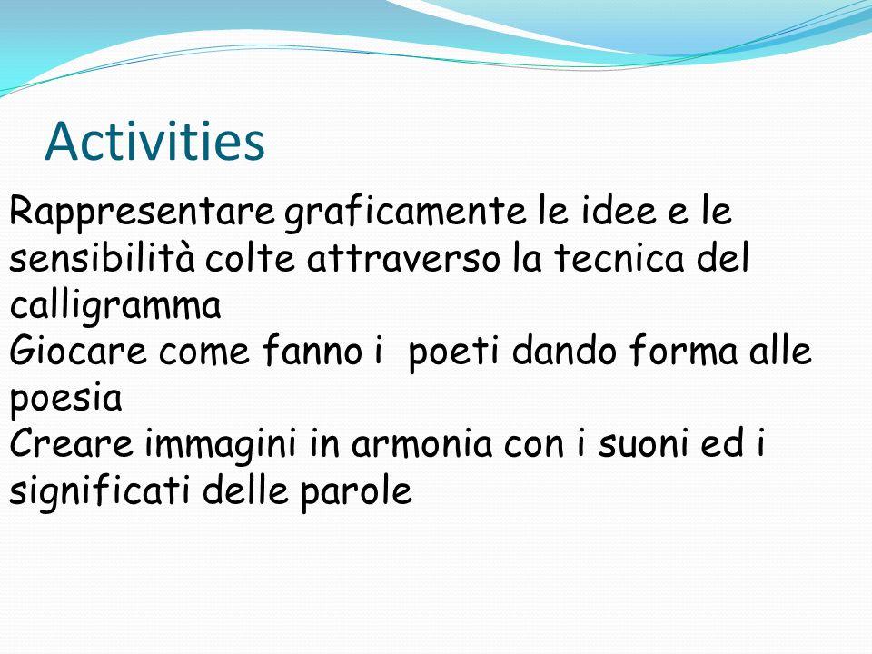 Activities Rappresentare graficamente le idee e le sensibilità colte attraverso la tecnica del calligramma Giocare come fanno i poeti dando forma alle