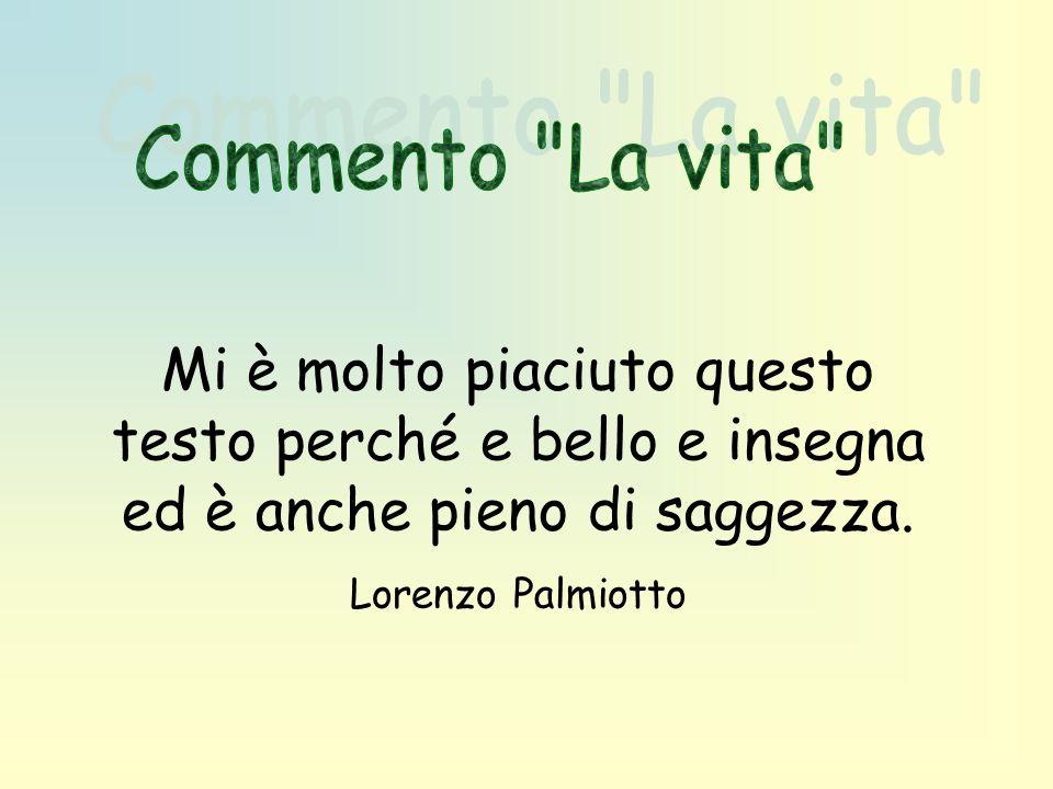 Mi è molto piaciuto questo testo perché e bello e insegna ed è anche pieno di saggezza. Lorenzo Palmiotto