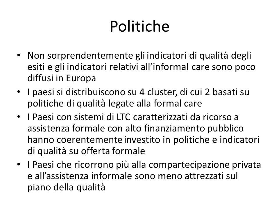 Politiche Non sorprendentemente gli indicatori di qualità degli esiti e gli indicatori relativi allinformal care sono poco diffusi in Europa I paesi s