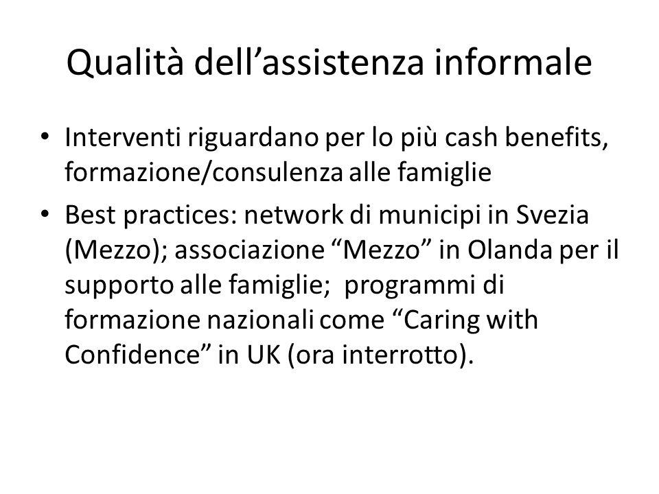 Qualità dellassistenza informale Interventi riguardano per lo più cash benefits, formazione/consulenza alle famiglie Best practices: network di munici