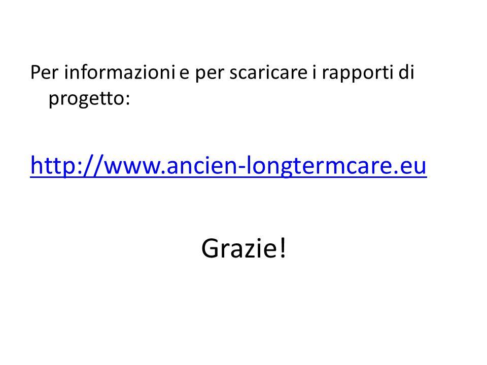 Grazie! Per informazioni e per scaricare i rapporti di progetto: http://www.ancien-longtermcare.eu
