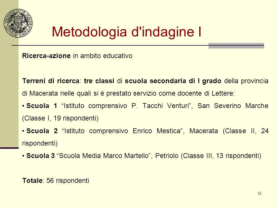 12 Metodologia d'indagine I Ricerca-azione in ambito educativo Terreni di ricerca: tre classi di scuola secondaria di I grado della provincia di Macer