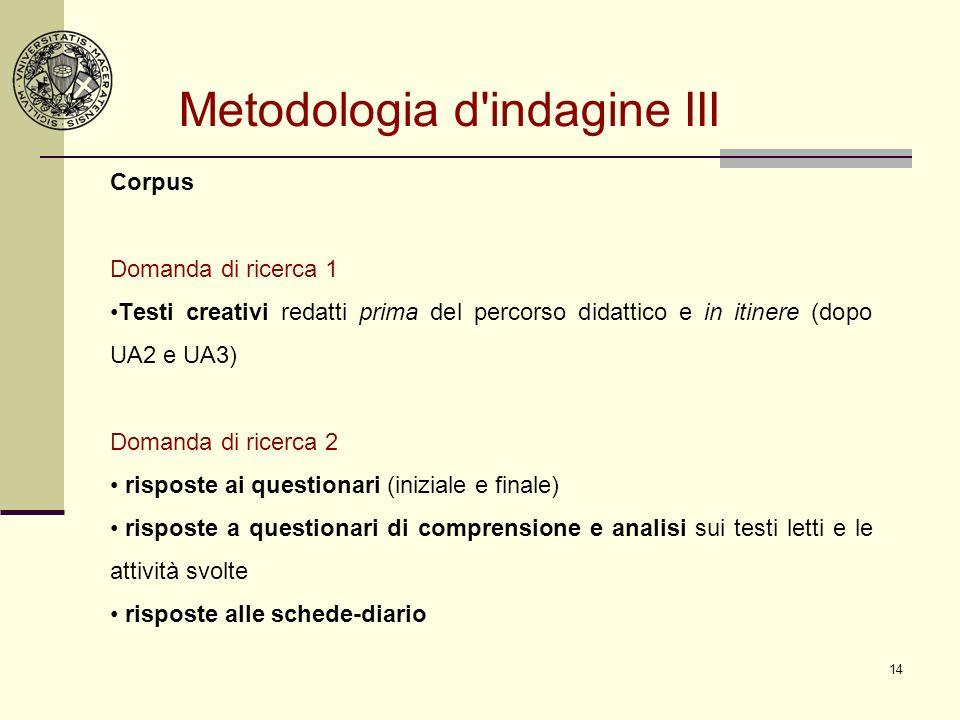 14 Metodologia d'indagine III Corpus Domanda di ricerca 1 Testi creativi redatti prima del percorso didattico e in itinere (dopo UA2 e UA3) Domanda di