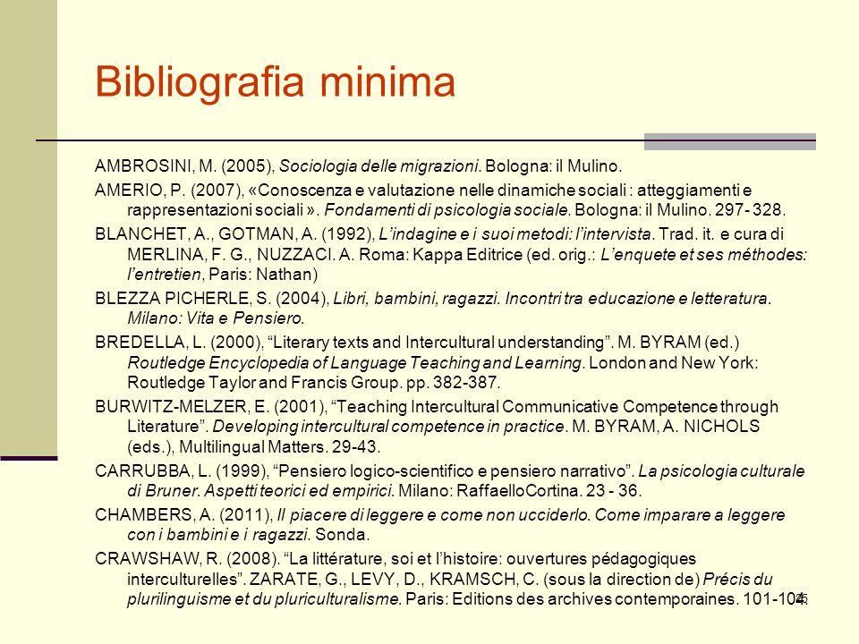 Bibliografia minima AMBROSINI, M. (2005), Sociologia delle migrazioni. Bologna: il Mulino. AMERIO, P. (2007), «Conoscenza e valutazione nelle dinamich