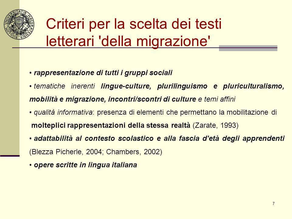 7 Criteri per la scelta dei testi letterari 'della migrazione' rappresentazione di tutti i gruppi sociali tematiche inerenti lingue-culture, pluriling