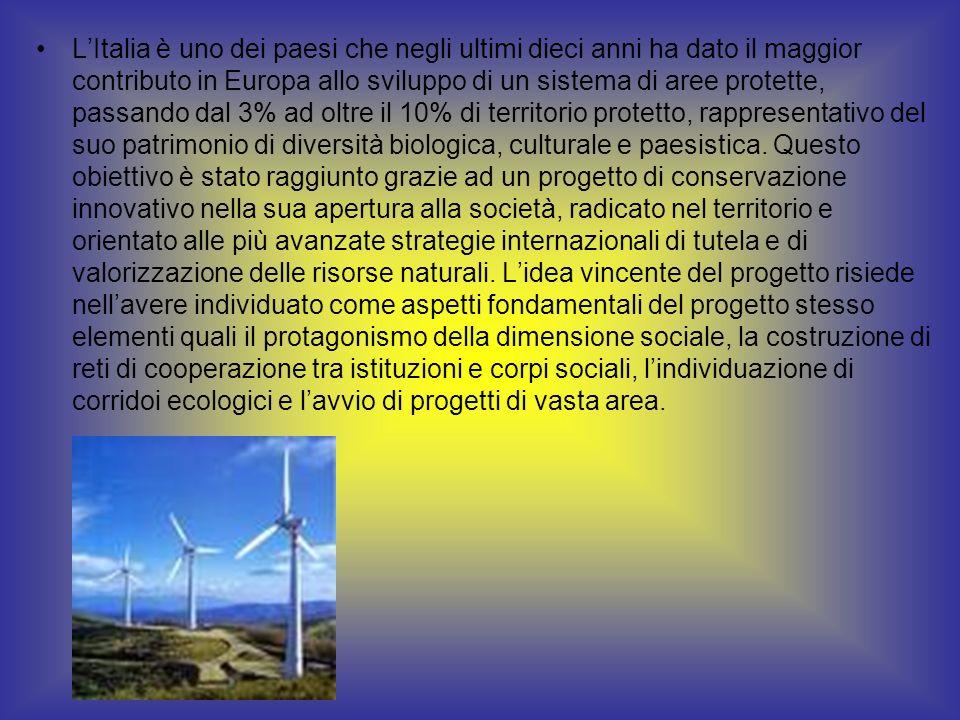 LItalia è uno dei paesi che negli ultimi dieci anni ha dato il maggior contributo in Europa allo sviluppo di un sistema di aree protette, passando dal 3% ad oltre il 10% di territorio protetto, rappresentativo del suo patrimonio di diversità biologica, culturale e paesistica.
