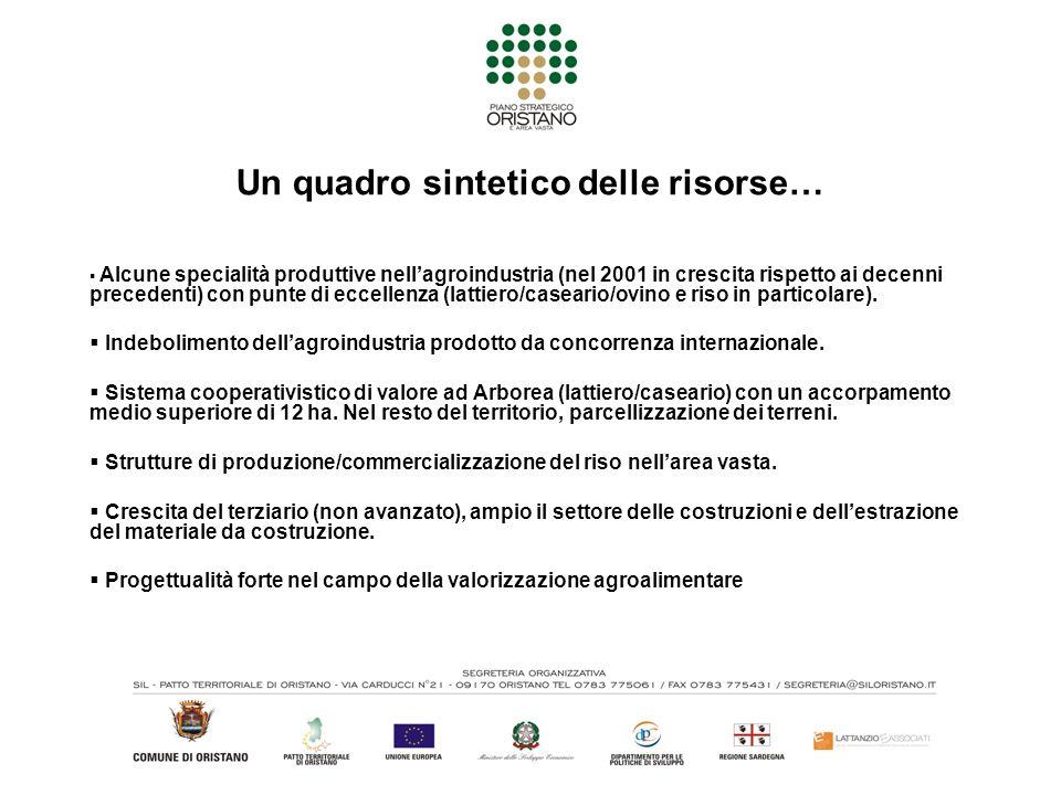 Un quadro sintetico delle risorse… Alcune specialità produttive nellagroindustria (nel 2001 in crescita rispetto ai decenni precedenti) con punte di e