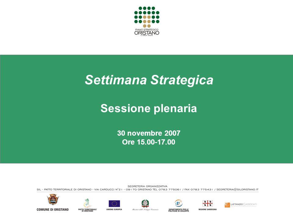 Settimana Strategica Sessione plenaria 30 novembre 2007 Ore 15.00-17.00