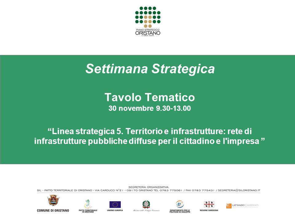 Settimana Strategica Tavolo Tematico 30 novembre 9.30-13.00 Linea strategica 5. Territorio e infrastrutture: rete di infrastrutture pubbliche diffuse