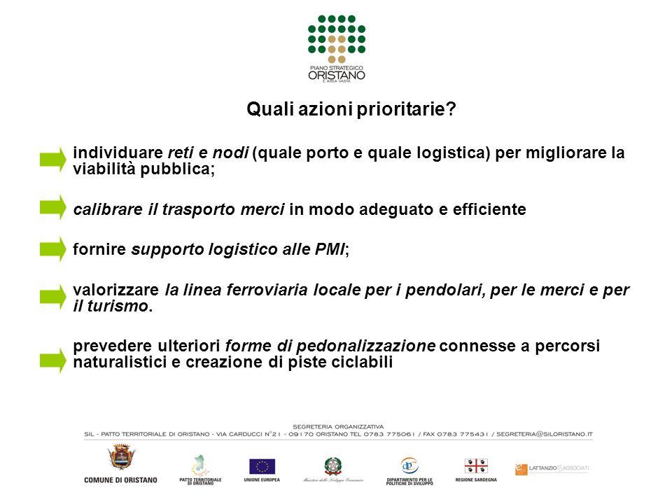 Quali azioni prioritarie? individuare reti e nodi (quale porto e quale logistica) per migliorare la viabilità pubblica; calibrare il trasporto merci i