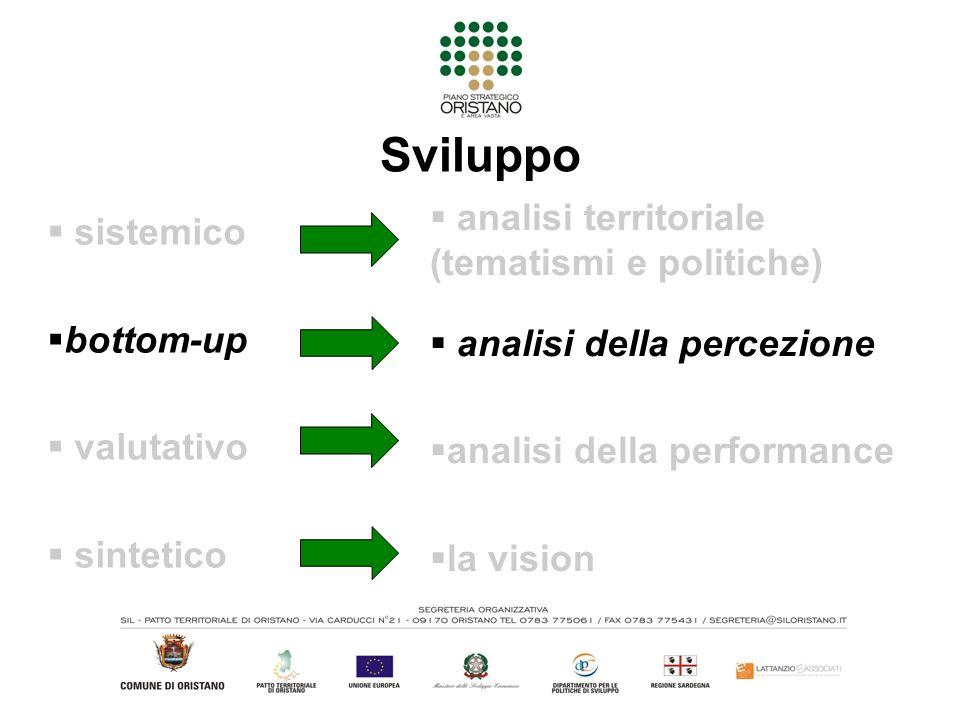 Sviluppo sistemico bottom-up valutativo sintetico analisi territoriale (tematismi e politiche) analisi della percezione analisi della performance la vision