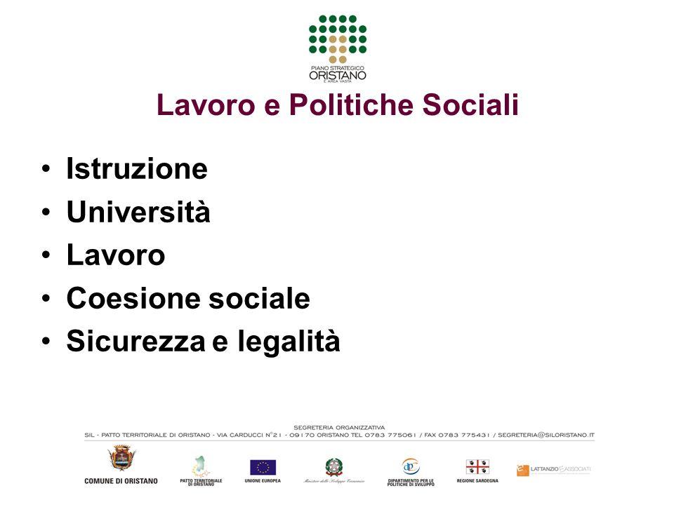 Lavoro e Politiche Sociali Istruzione Università Lavoro Coesione sociale Sicurezza e legalità