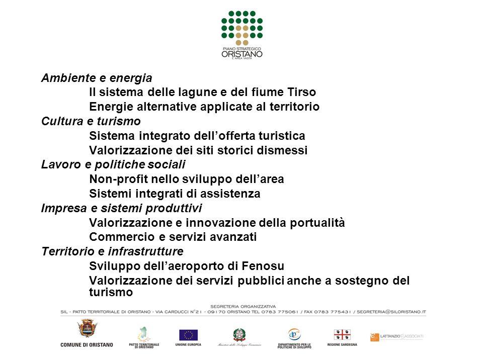 Ambiente e energia Il sistema delle lagune e del fiume Tirso Energie alternative applicate al territorio Cultura e turismo Sistema integrato delloffer