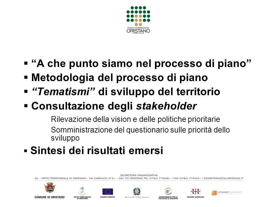 A che punto siamo nel processo di piano Metodologia del processo di piano Tematismi di sviluppo del territorio Consultazione degli stakeholder Rilevaz
