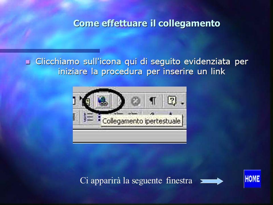 Come effettuare il collegamento Clicchiamo sull icona qui di seguito evidenziata per iniziare la procedura per inserire un link Clicchiamo sull icona qui di seguito evidenziata per iniziare la procedura per inserire un link Ci apparirà la seguente finestra