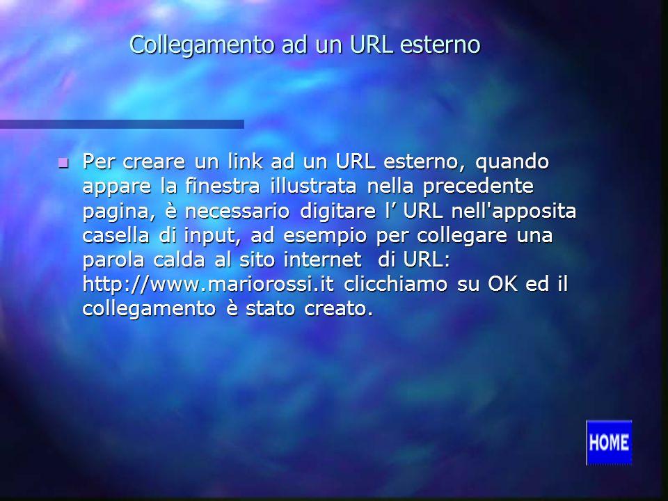 Collegamento ad un URL esterno Per creare un link ad un URL esterno, quando appare la finestra illustrata nella precedente pagina, è necessario digitare l URL nell apposita casella di input, ad esempio per collegare una parola calda al sito internet di URL: http://www.mariorossi.it clicchiamo su OK ed il collegamento è stato creato.
