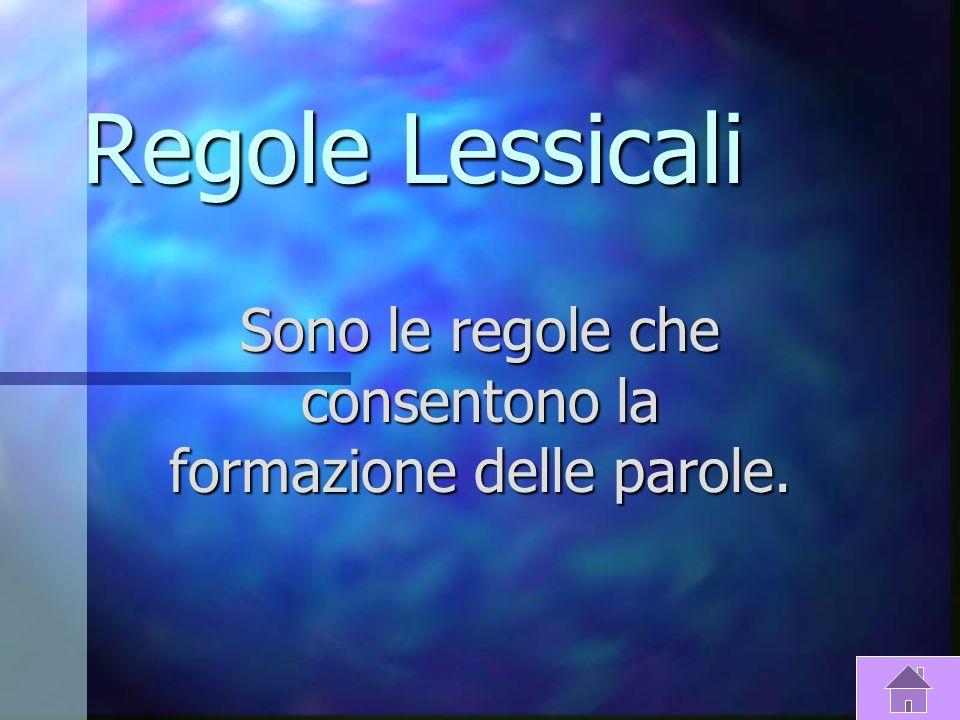 Caratteristiche Della Grammatica Regole Lessicali Regole Lessicali Regole Lessicali Regole Lessicali Regole Sintattiche Regole Sintattiche Regole Sint