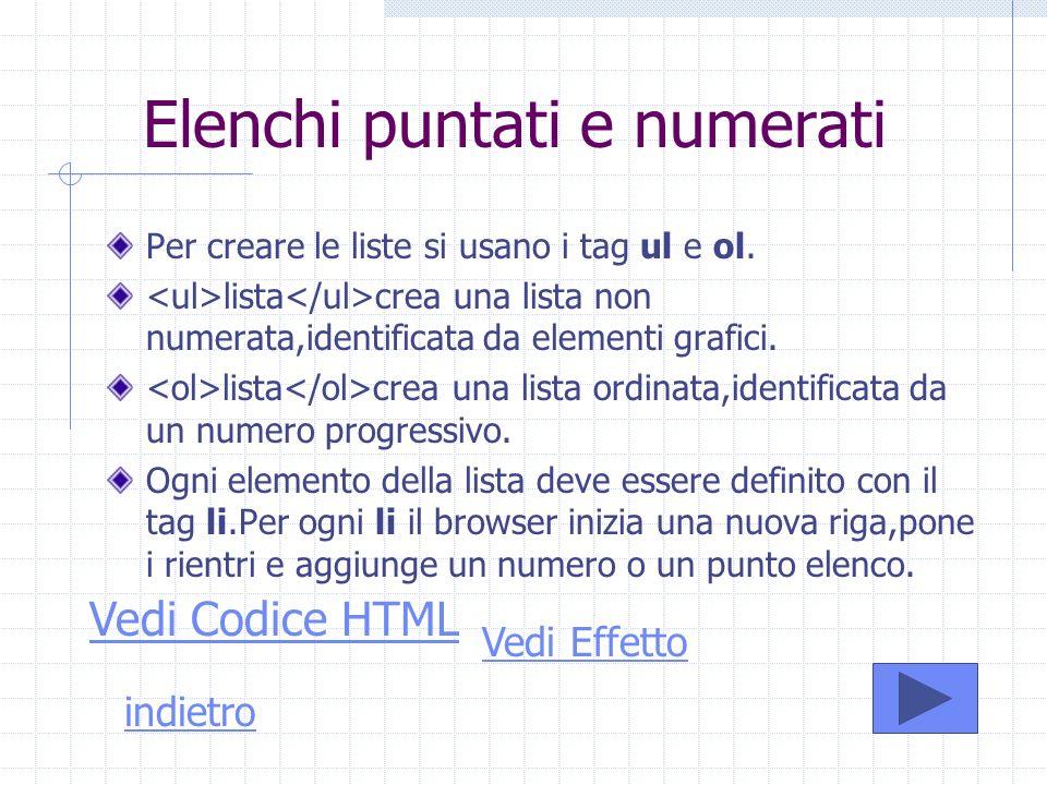 Elenchi puntati e numerati Per creare le liste si usano i tag ul e ol. lista crea una lista non numerata,identificata da elementi grafici. lista crea