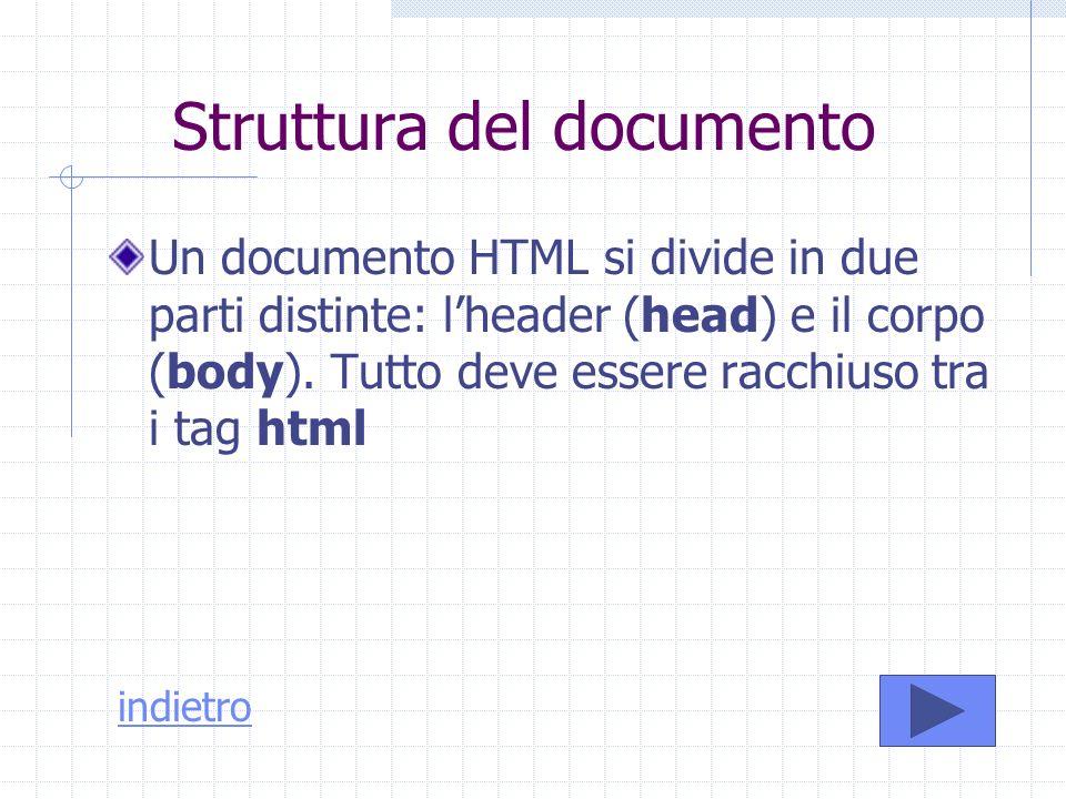 Struttura del documento Un documento HTML si divide in due parti distinte: lheader (head) e il corpo (body). Tutto deve essere racchiuso tra i tag htm
