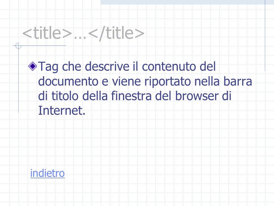 … Tag che descrive il contenuto del documento e viene riportato nella barra di titolo della finestra del browser di Internet. indietro
