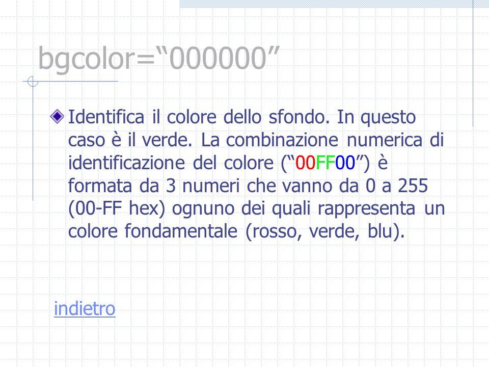 bgcolor=000000 Identifica il colore dello sfondo. In questo caso è il verde. La combinazione numerica di identificazione del colore (00FF00) è formata