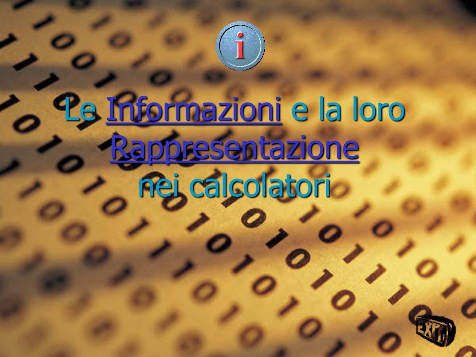 Le Informazioni e la loro Rappresentazione nei calcolatori Informazioni RappresentazioneInformazioni Rappresentazione